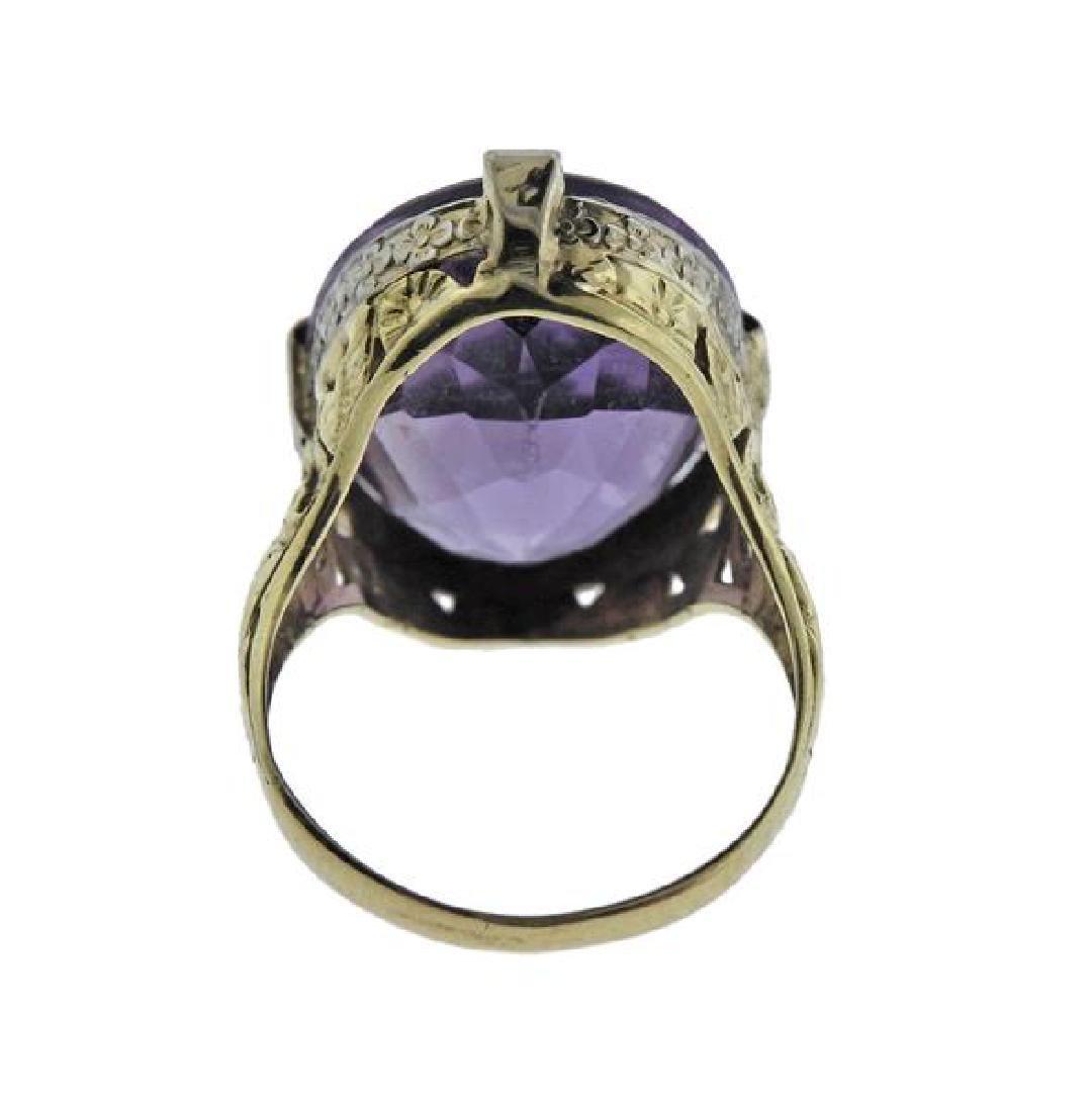 14K Gold Purple Stone Pearl Earrings Ring Set - 7