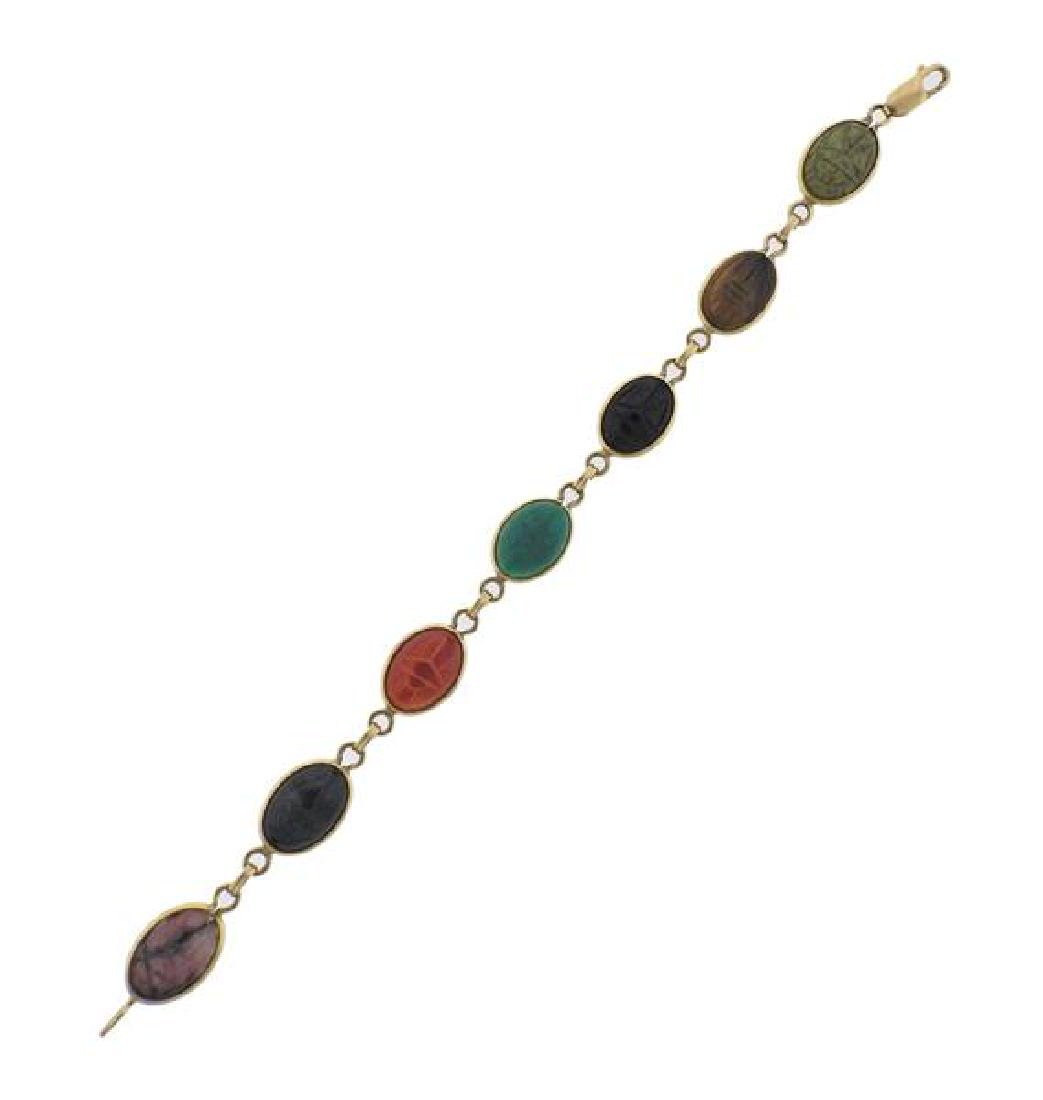 14K Gold Multi Gemstone Scarab Bracelet