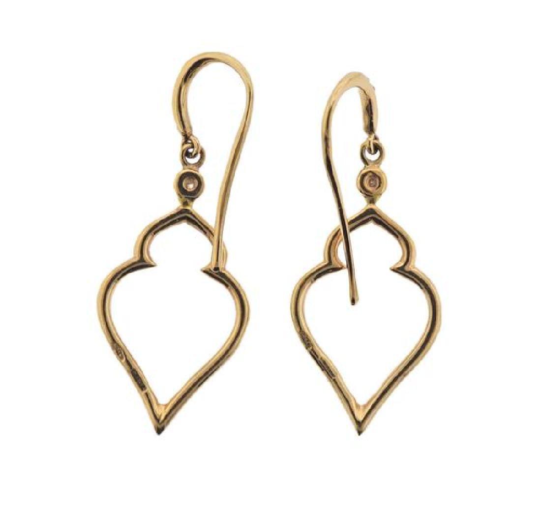 18K Gold Diamond Drop Earrings - 2