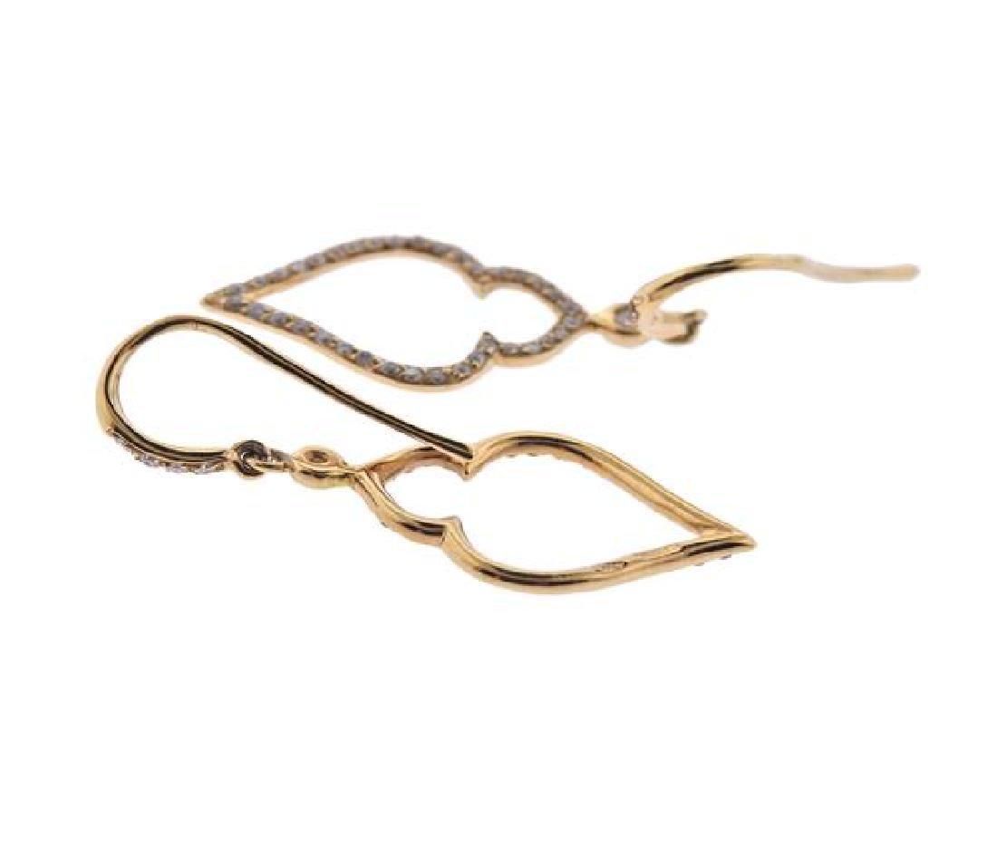18K Gold Diamond Drop Earrings - 3