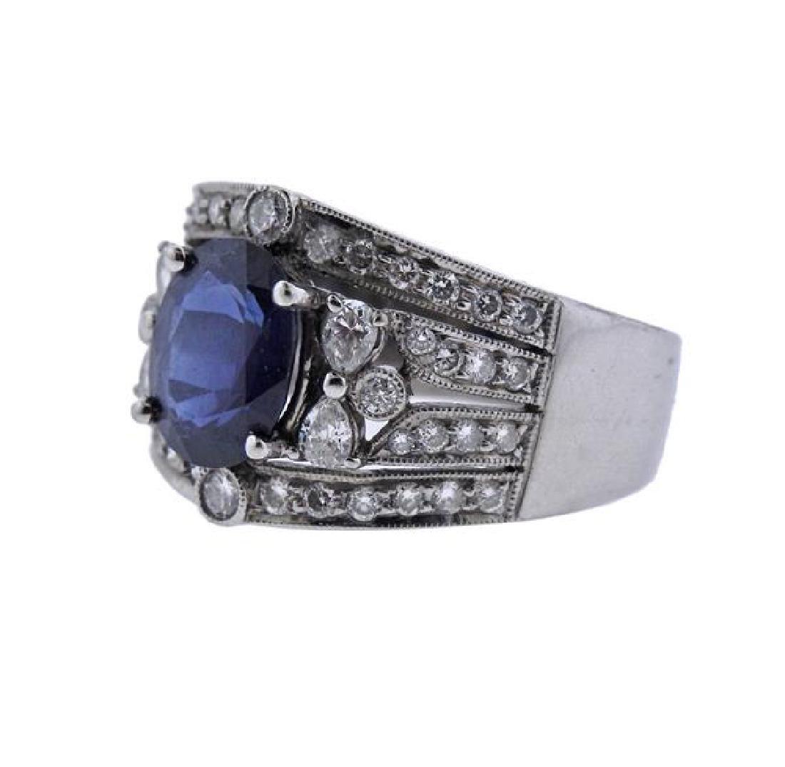 18K Gold Diamond Sapphire Band Ring - 2