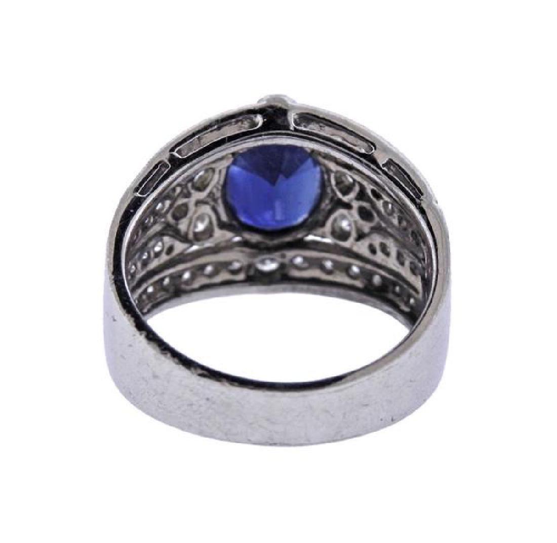 18K Gold Diamond Sapphire Band Ring - 3