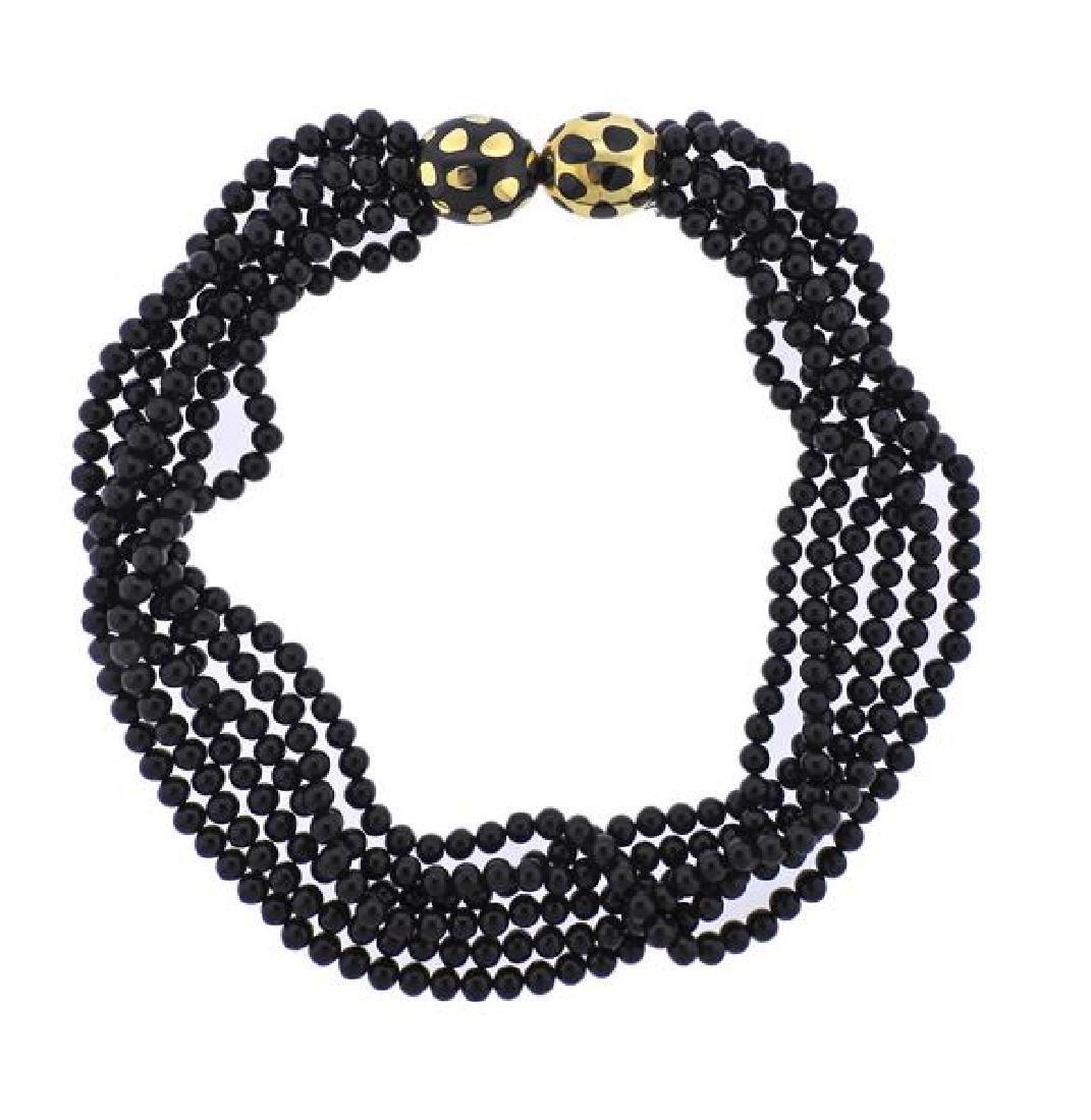 Tiffany & Co Gold Jade Positive Negative Clasp Bead