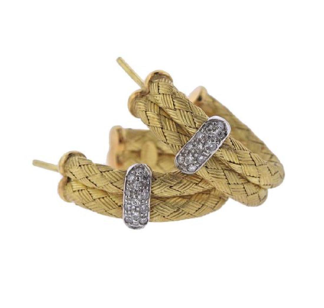 18K Gold Diamond Woven Hoop Earrings