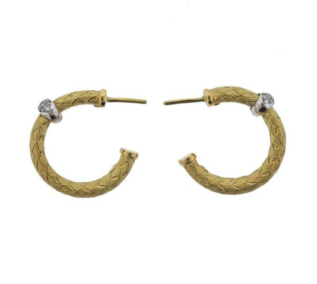 18K Gold Diamond Woven Hoop Earrings - 2