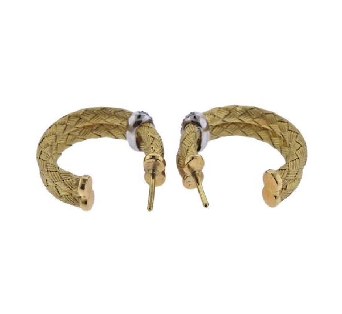 18K Gold Diamond Woven Hoop Earrings - 3