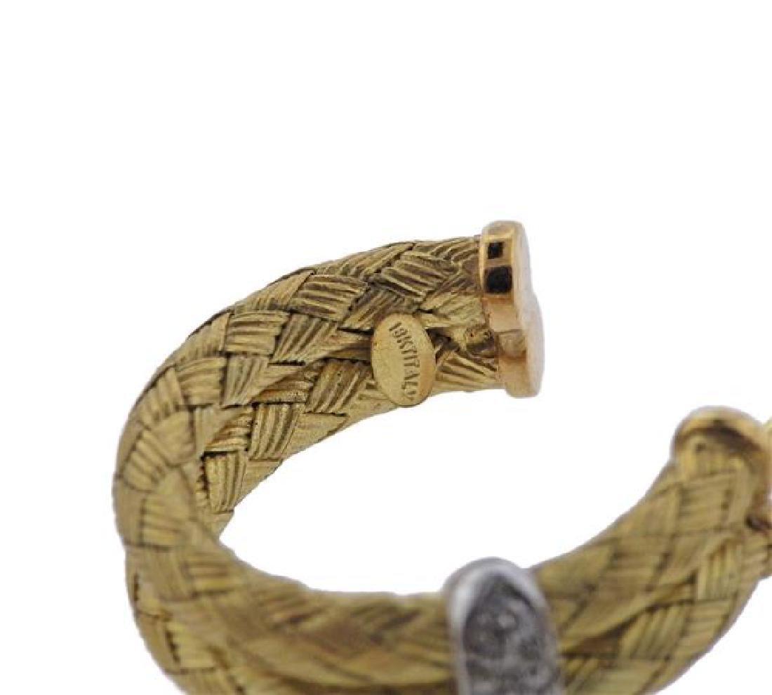 18K Gold Diamond Woven Hoop Earrings - 4