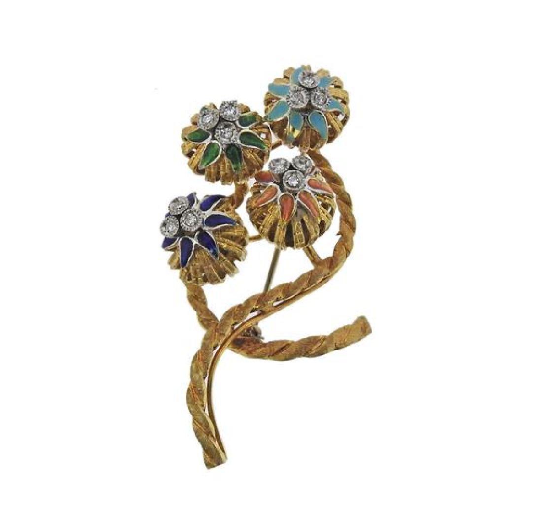 Toliro 18K Gold Diamond Enamel Flower Brooch