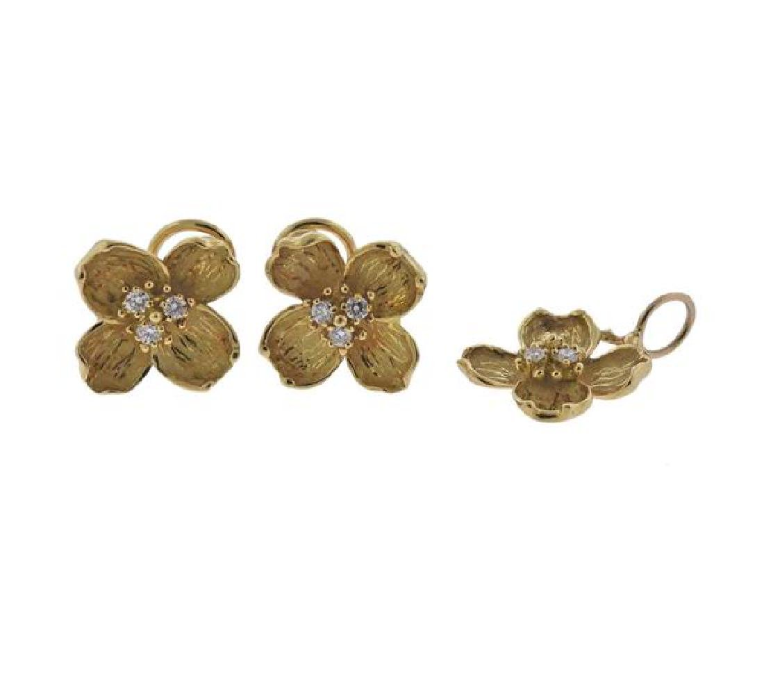 Tiffany & Co Dogwood 18K Gold Diamond Earrings