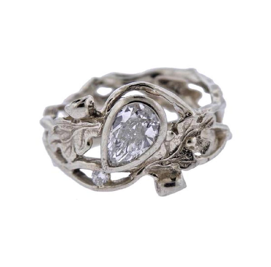 14K Gold Diamond Open Work Ring