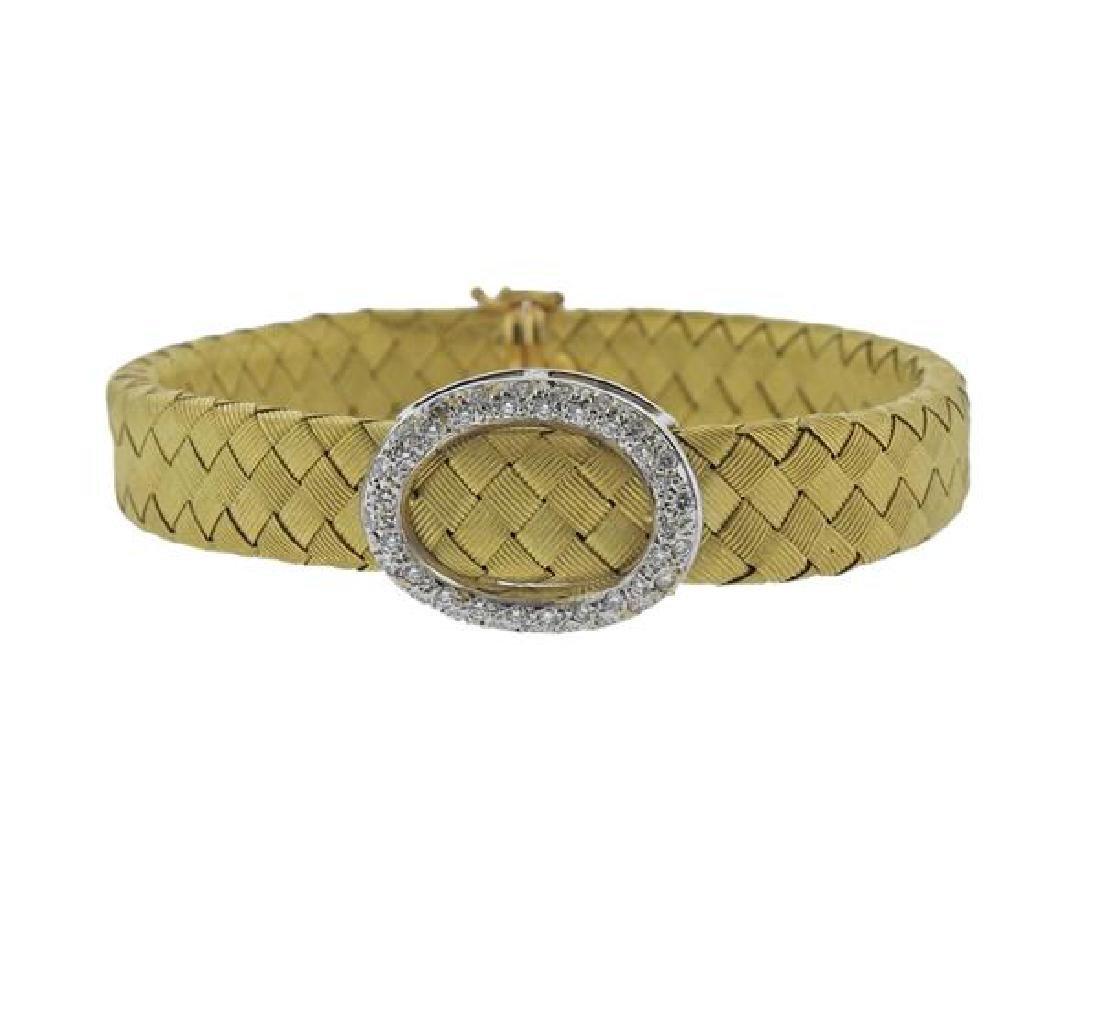 18K Gold Diamond Woven Bracelet