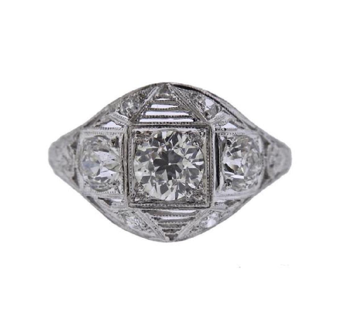 Art Deco Platinum Diamond Filigree Engagement Ring