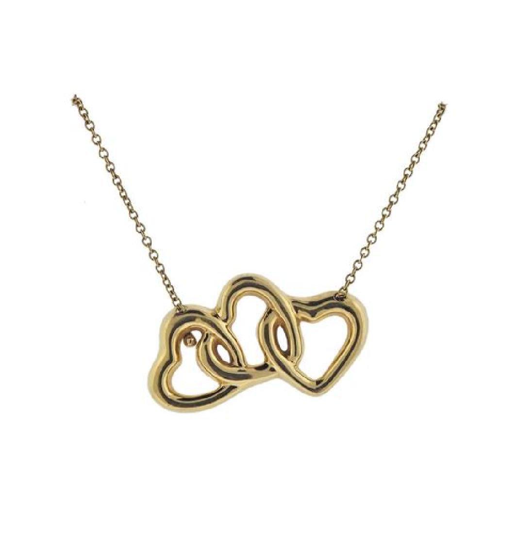 Tiffany & Co 18K Gold Open Heart Necklace