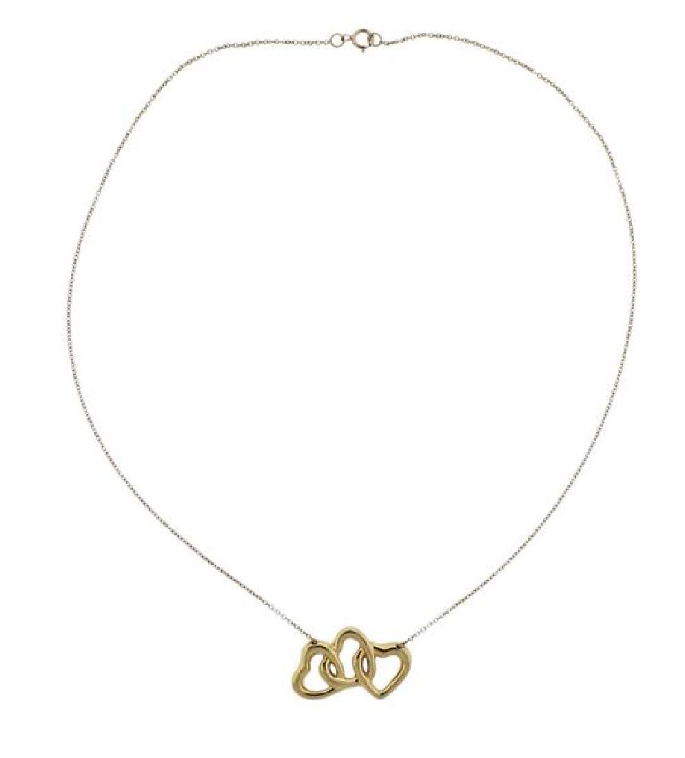 Tiffany & Co 18K Gold Open Heart Necklace - 2