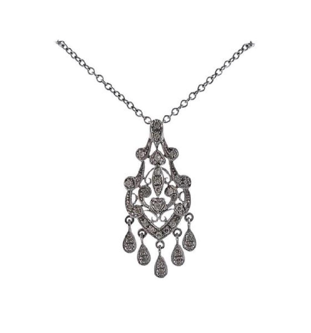 14K Gold Diamond Drop Pendant Necklace