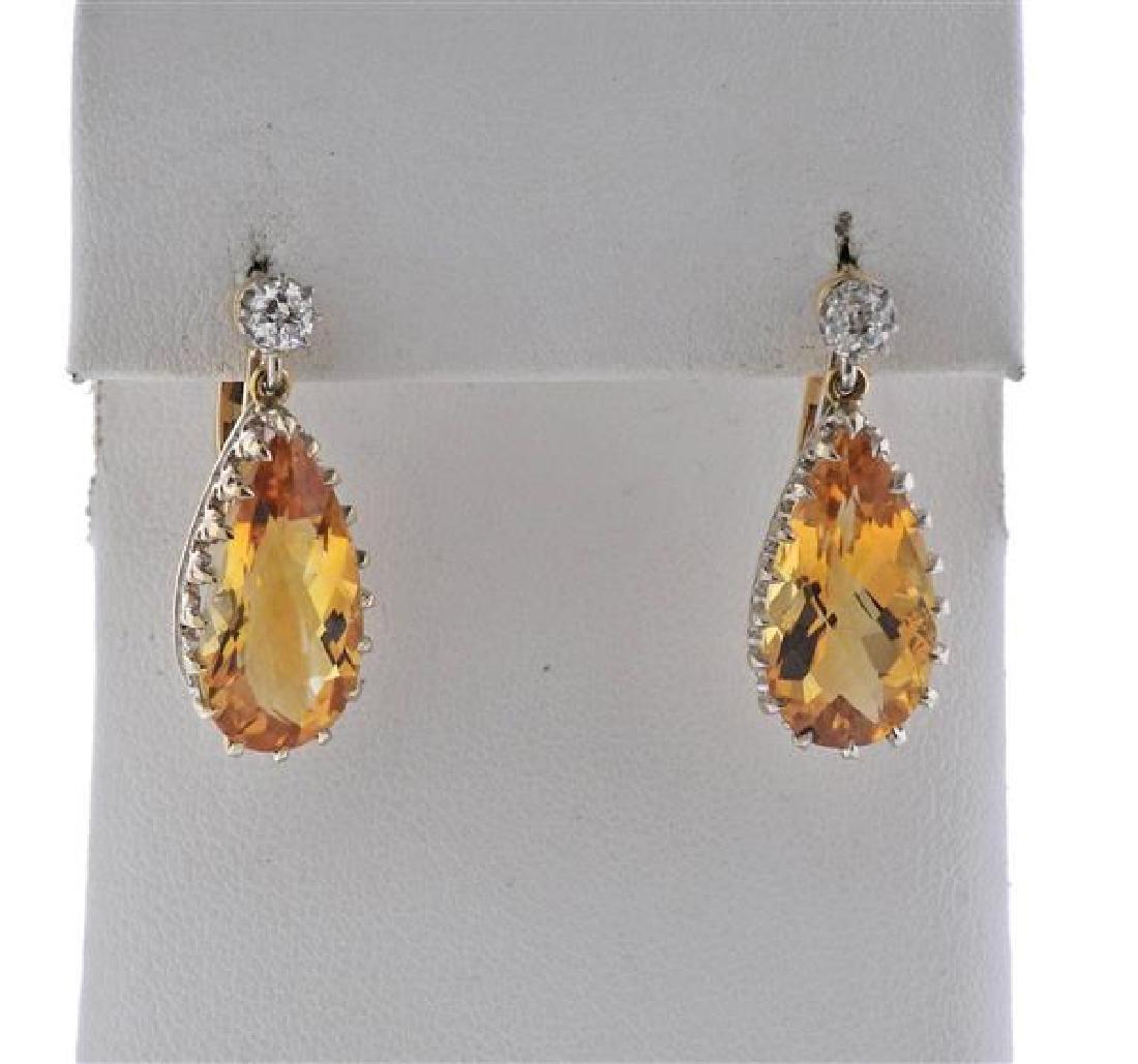 18K Gold Diamond Citrine Drop Earrings