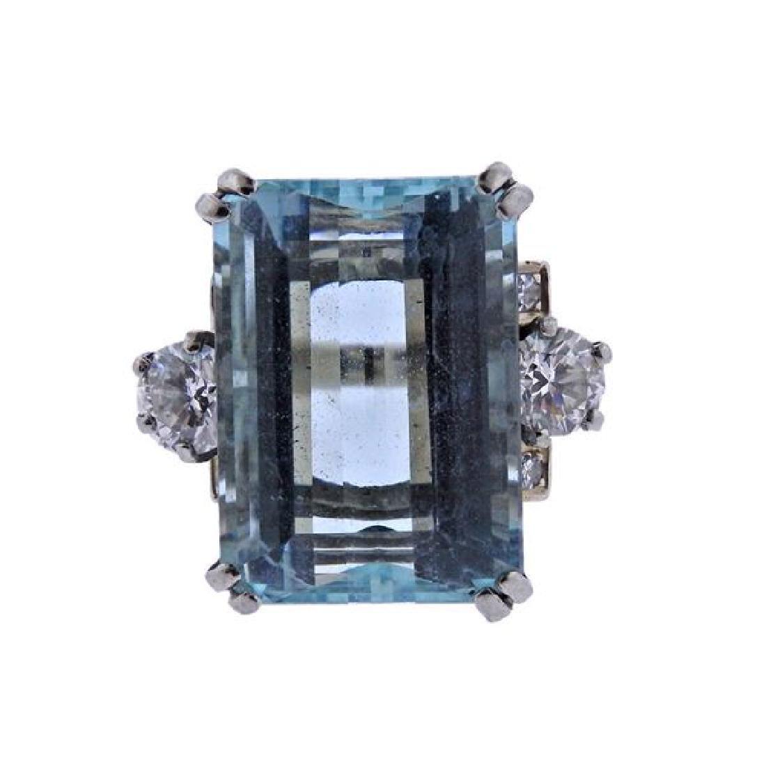 14K Gold Diamond 17.5ct Aquamarine Ring