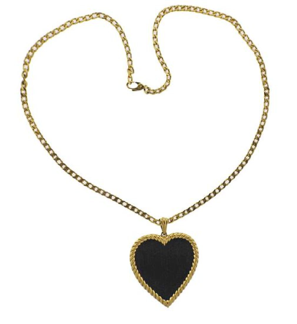 18K Gold Wood Heart Pendant Necklace
