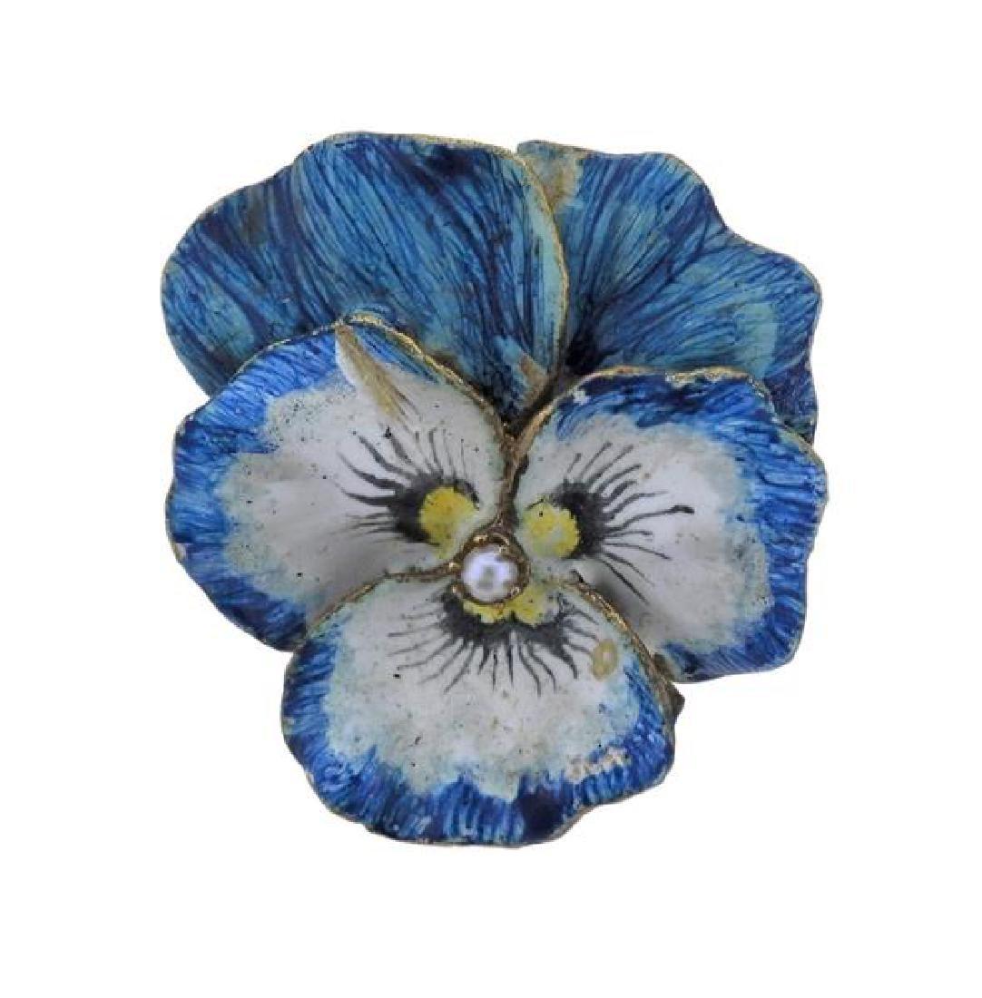14k Gold Pearl Enamel Pansy Flower Brooch