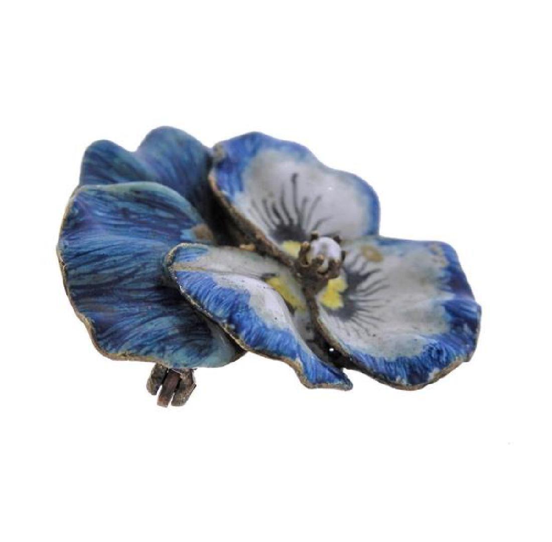 14k Gold Pearl Enamel Pansy Flower Brooch - 2