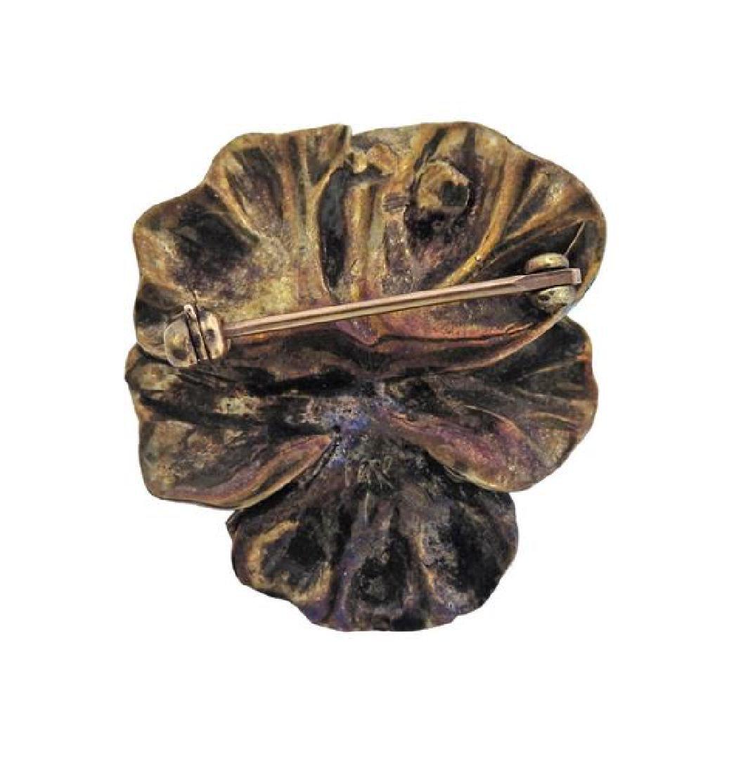 14k Gold Pearl Enamel Pansy Flower Brooch - 3