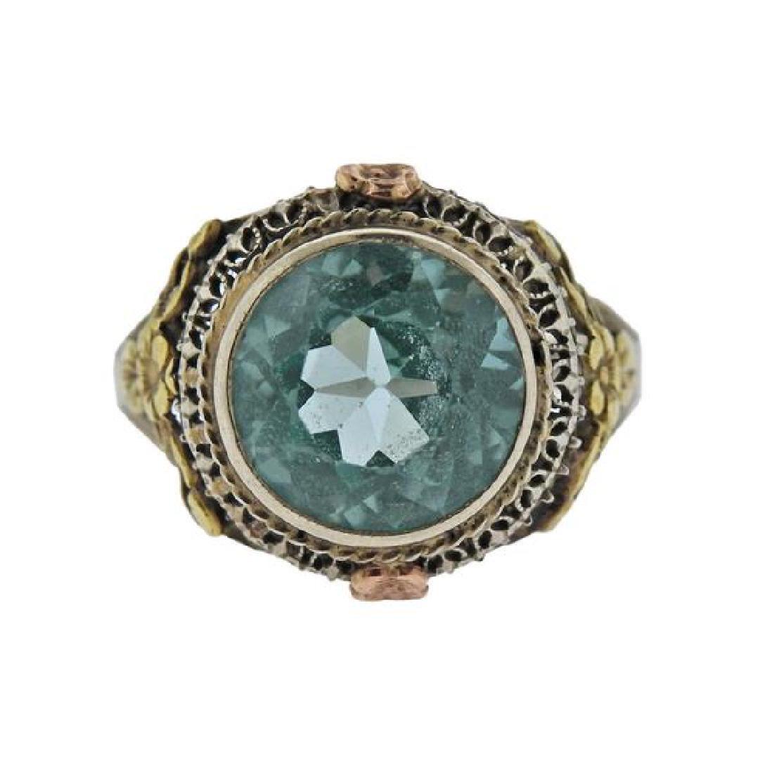 Art Deco  14K Gold Blue Zircon Ring