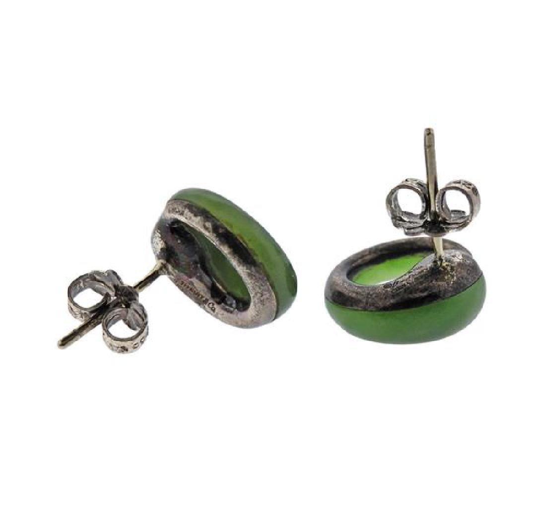 Tiffany & Co Elsa Peretti Silver Nephrite Earrings - 3