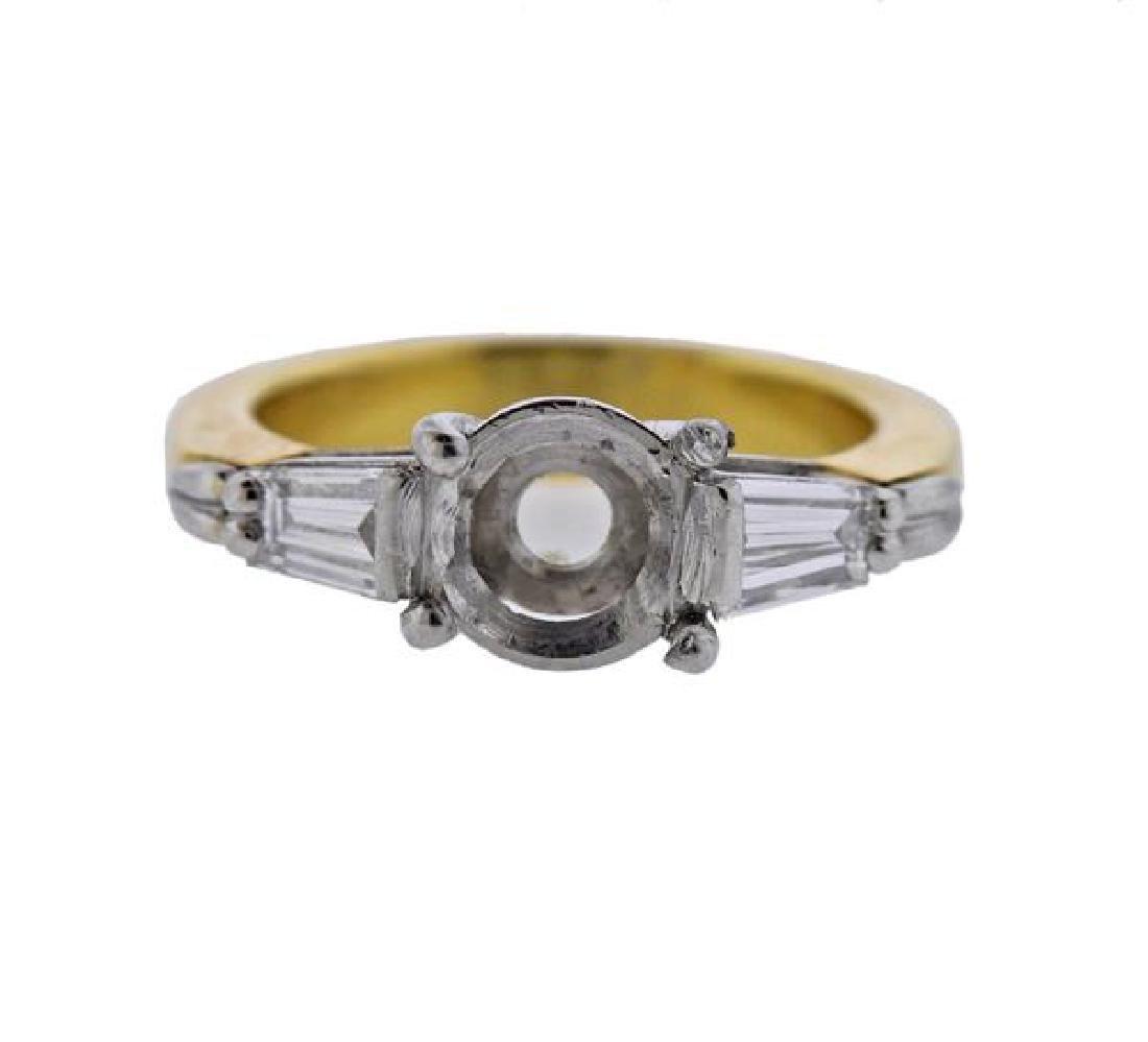 18K Gold Platinum Diamond Engagement Ring Mounting