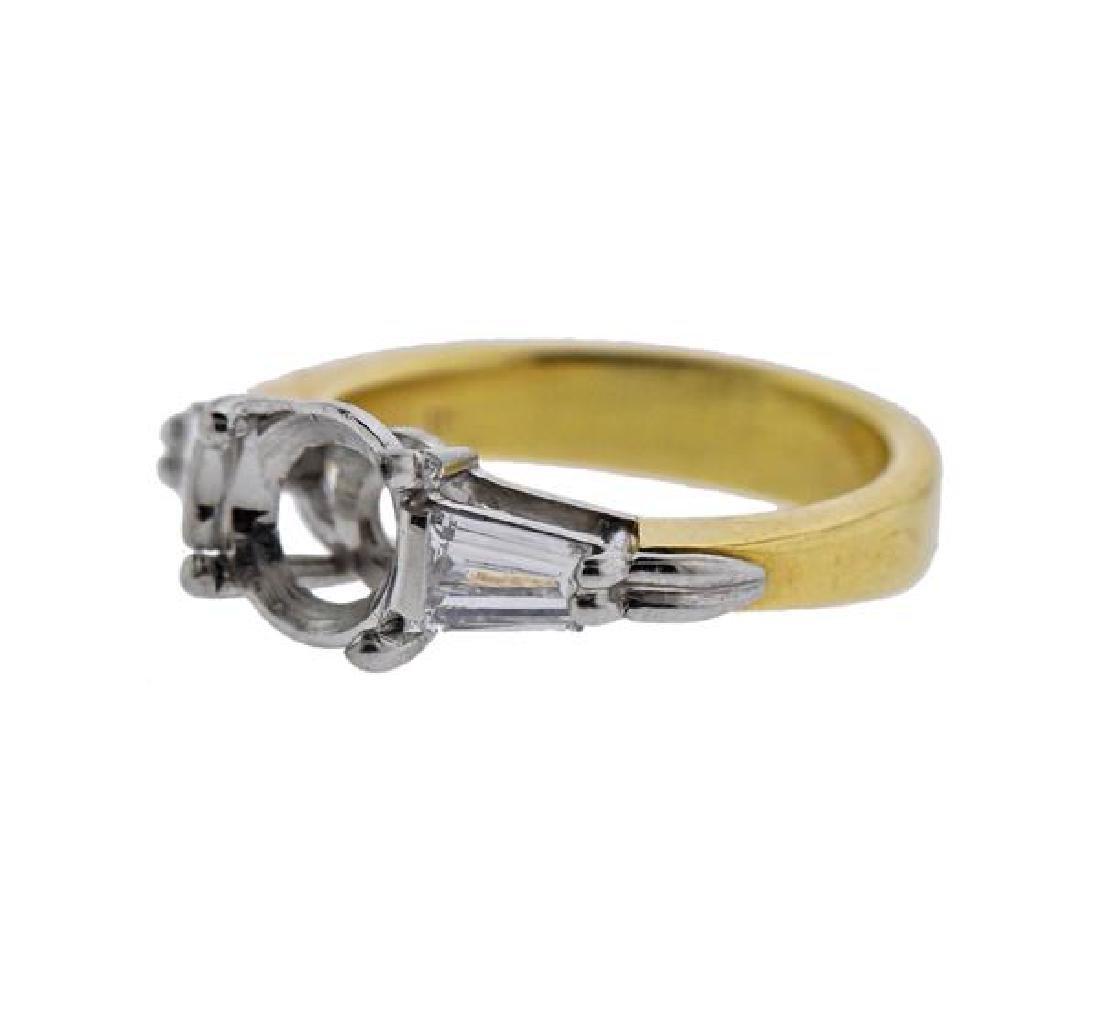 18K Gold Platinum Diamond Engagement Ring Mounting - 2