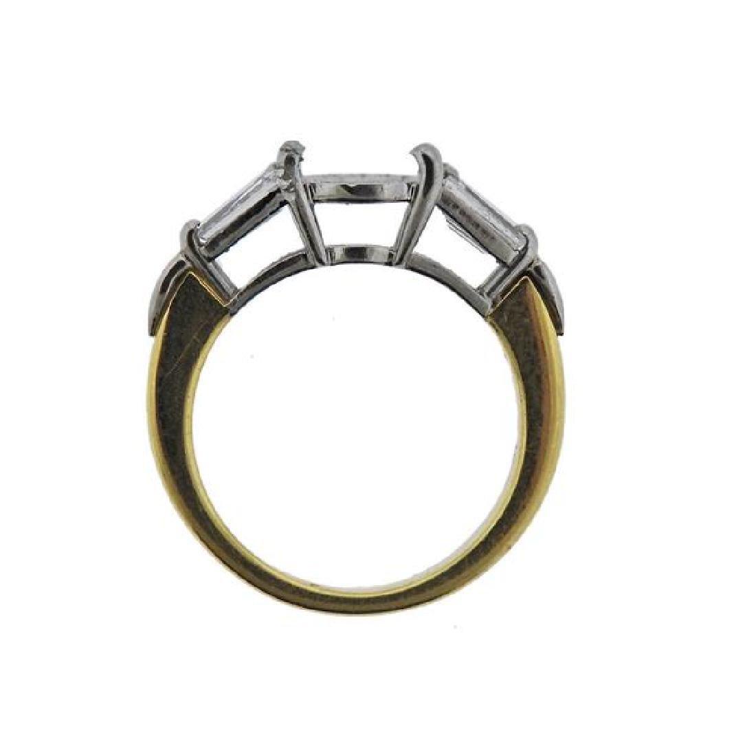 18K Gold Platinum Diamond Engagement Ring Mounting - 3