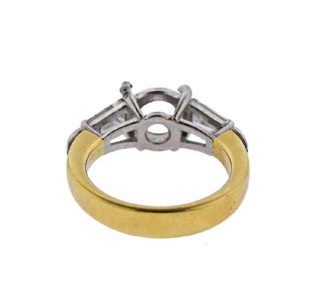 18K Gold Platinum Diamond Engagement Ring Mounting - 4