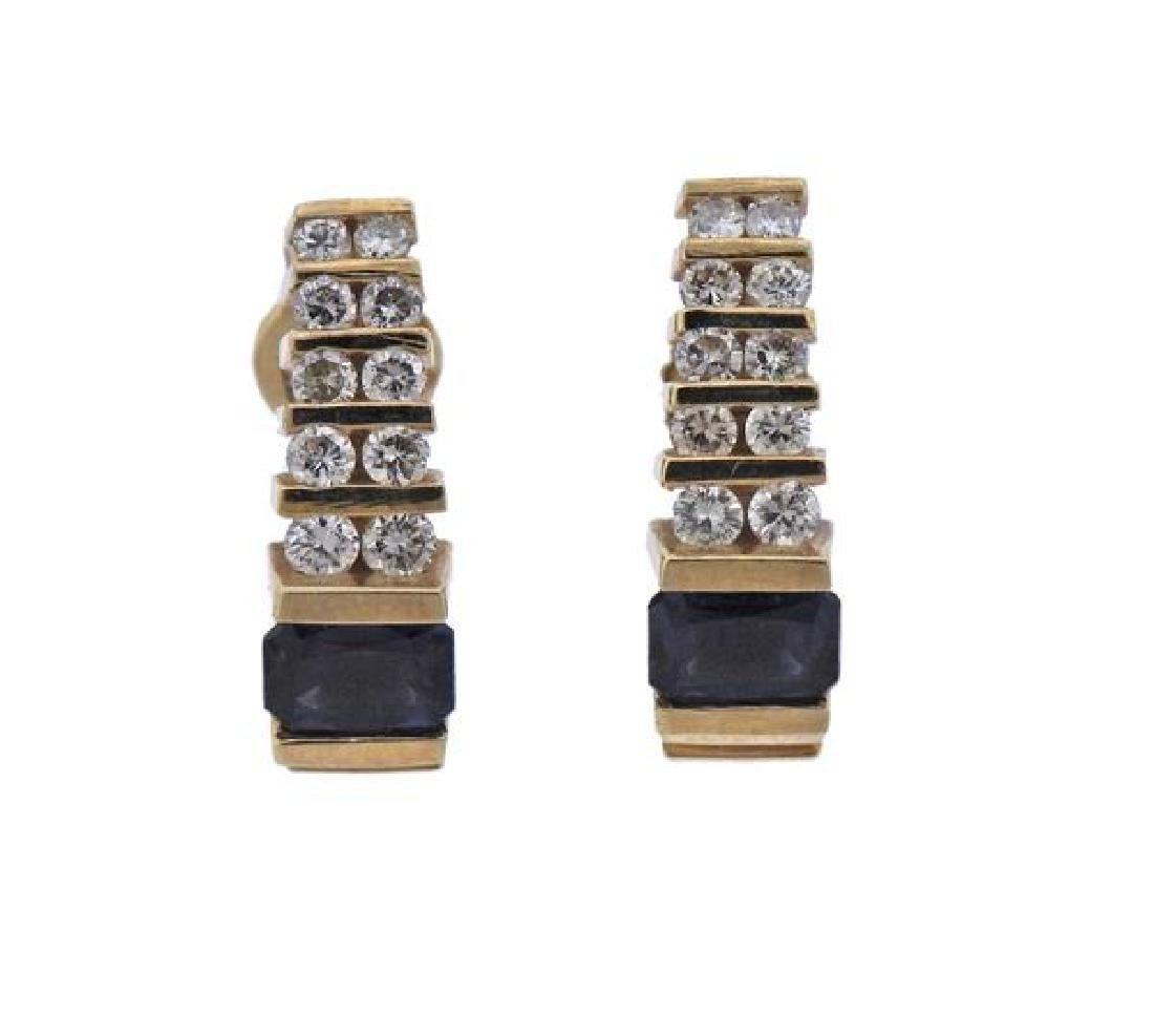 14K Gold Diamond Sapphire Earrings
