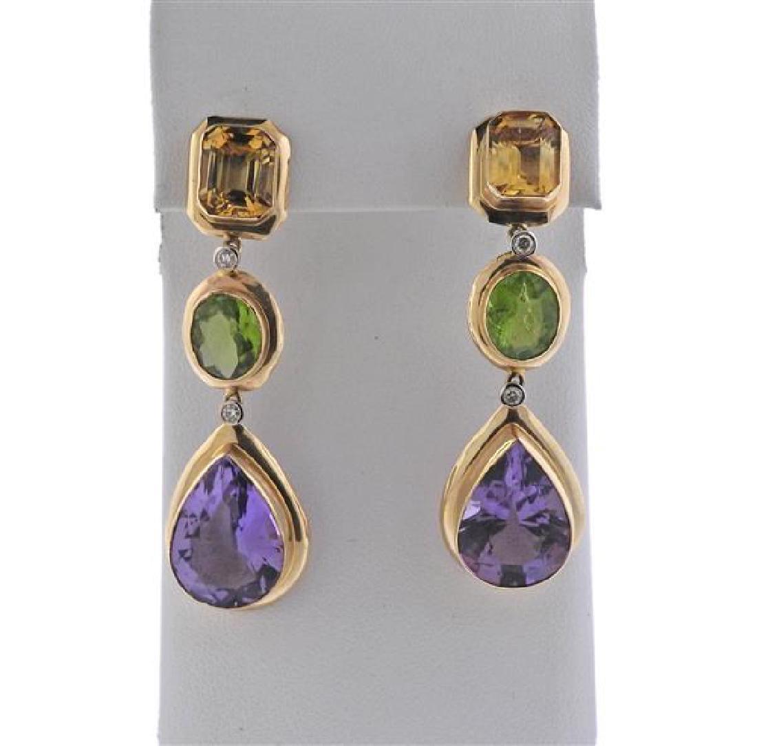 14K Gold Diamond Multi Color Stone Dangle Earrings