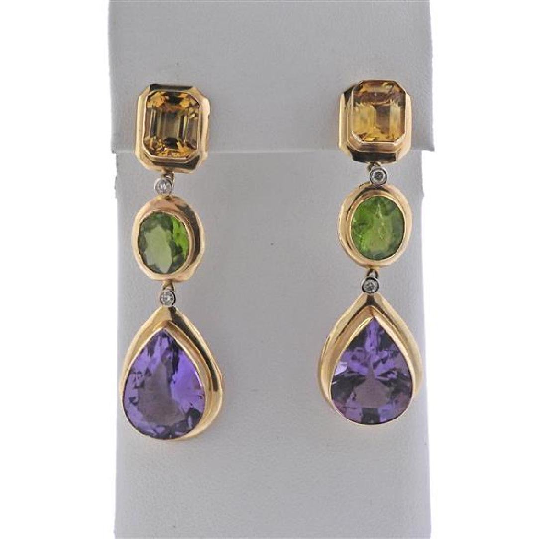 14K Gold Diamond Multi Color Stone Dangle Earrings