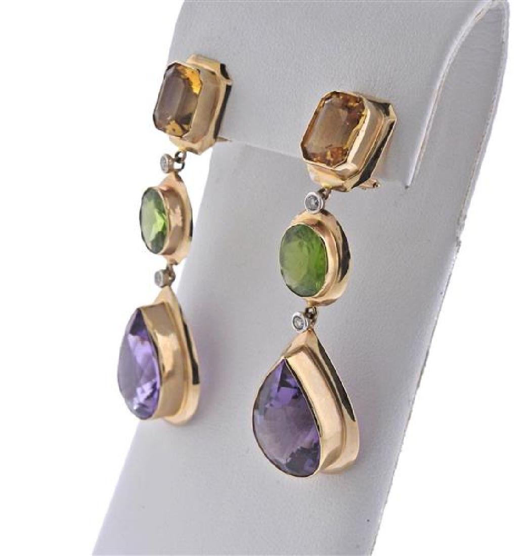 14K Gold Diamond Multi Color Stone Dangle Earrings - 2
