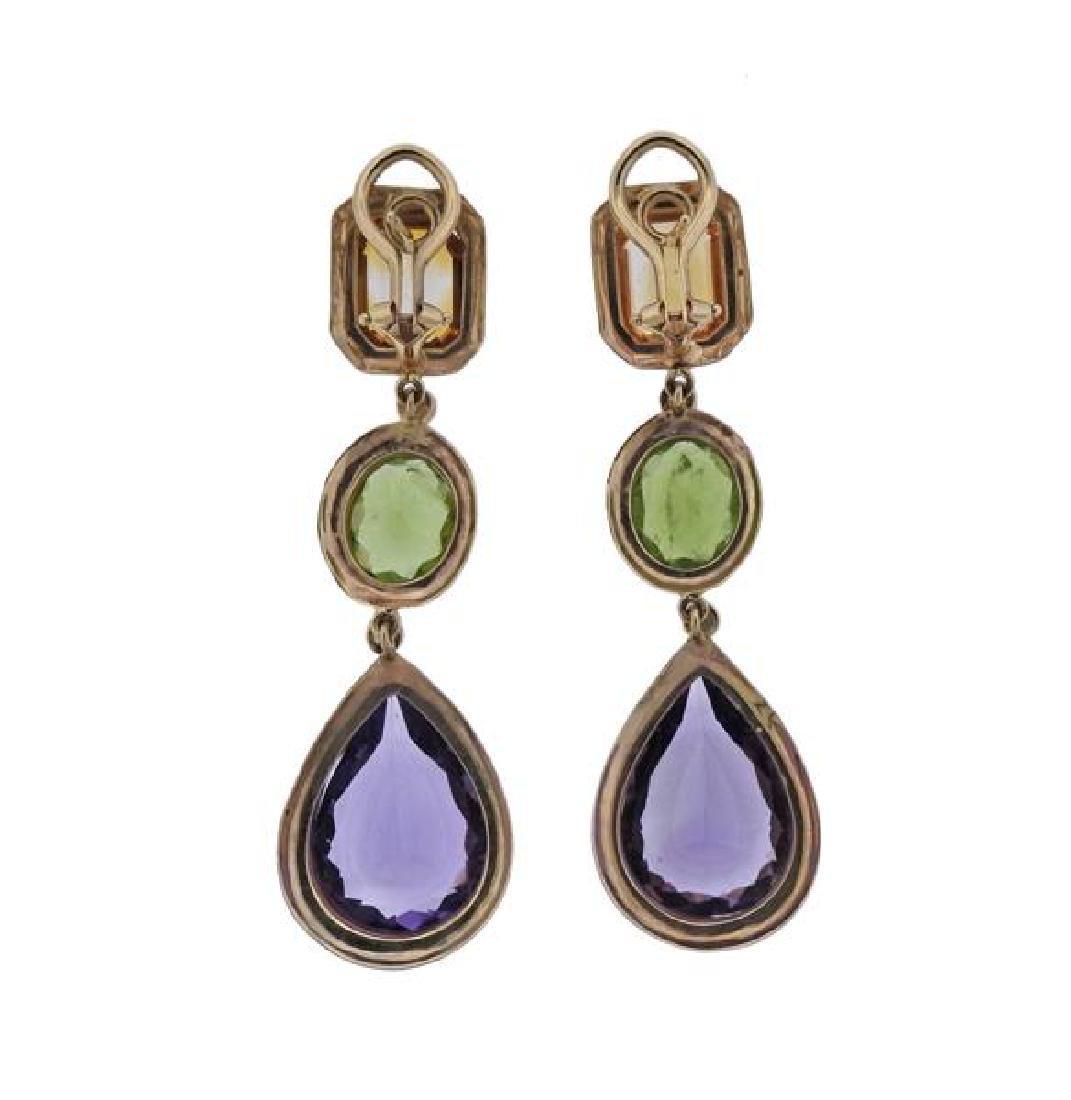 14K Gold Diamond Multi Color Stone Dangle Earrings - 3
