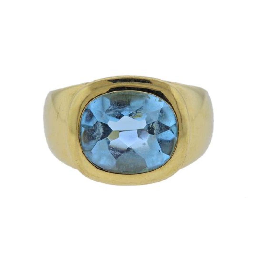 18K Gold Blue Gemstone Ring
