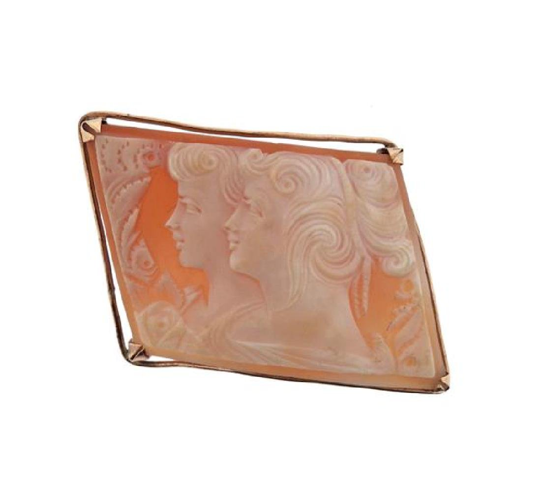 14K Gold Shell Cameo Brooch