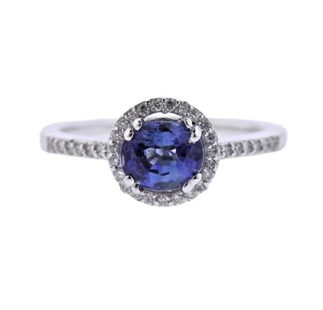 14K Gold Diamond Blue Stone Ring