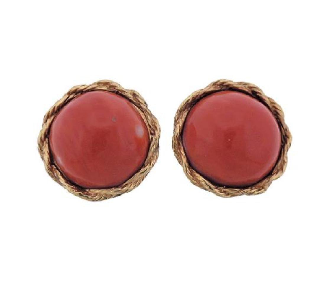 14K Gold Coral Earrings