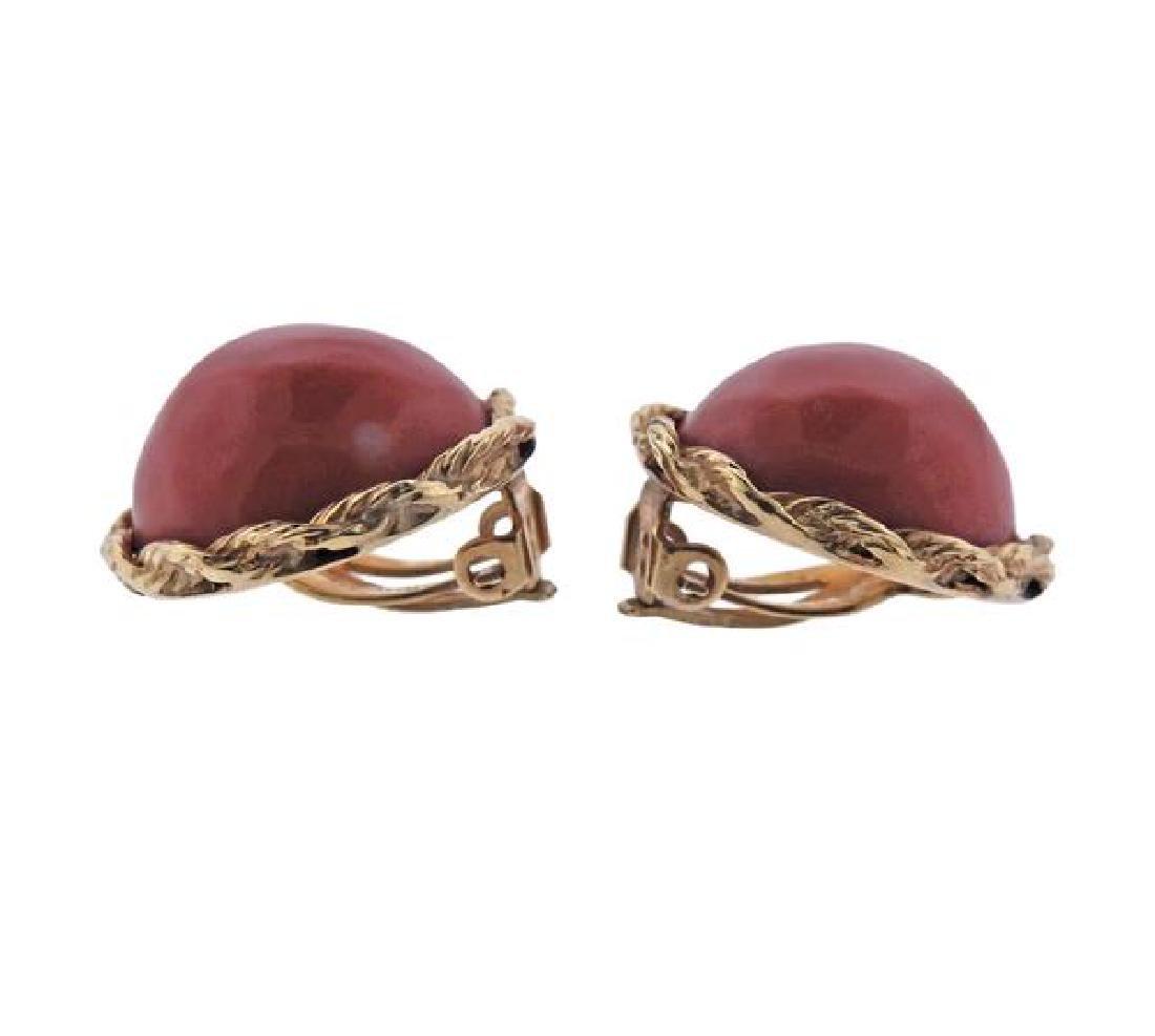 14K Gold Coral Earrings - 2