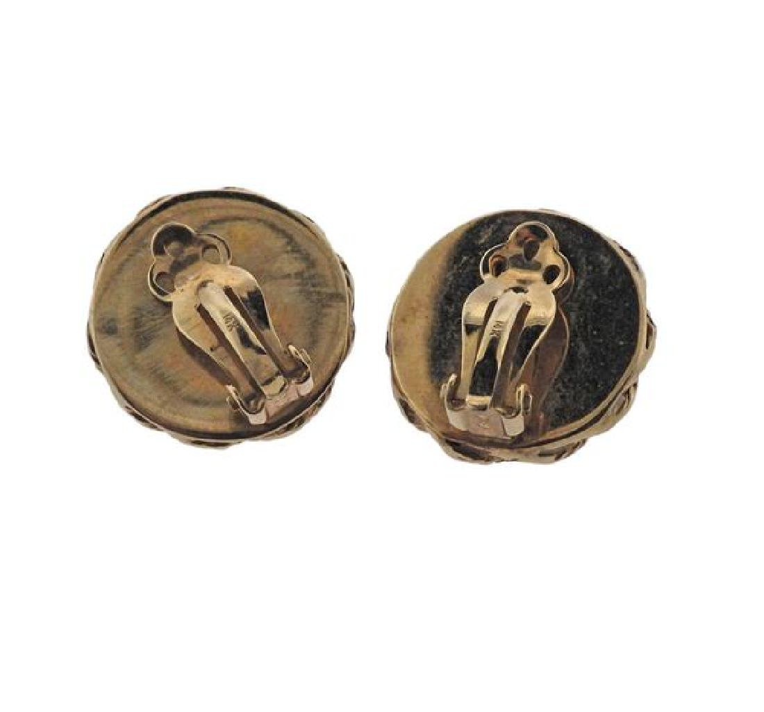14K Gold Coral Earrings - 3