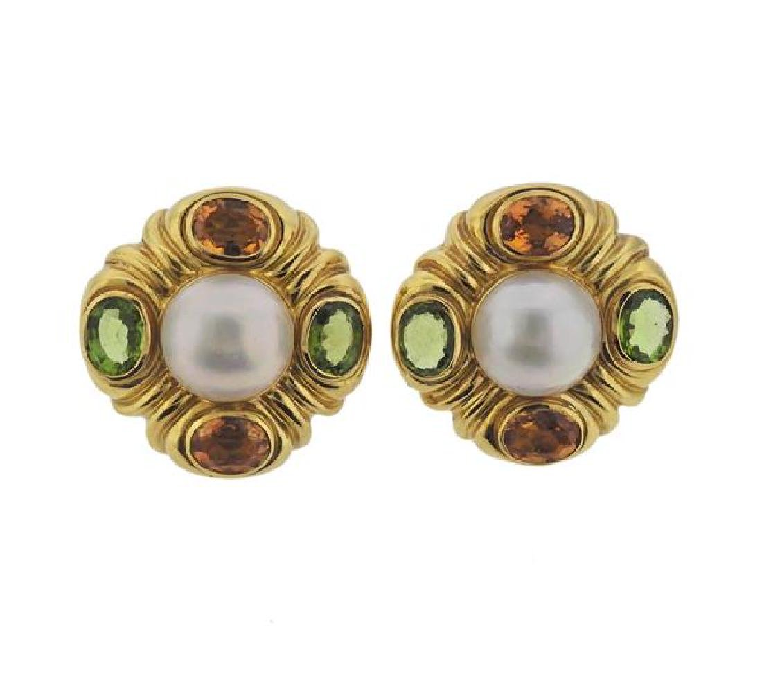 18K Gold Pearl Multi Gemstone Earrings