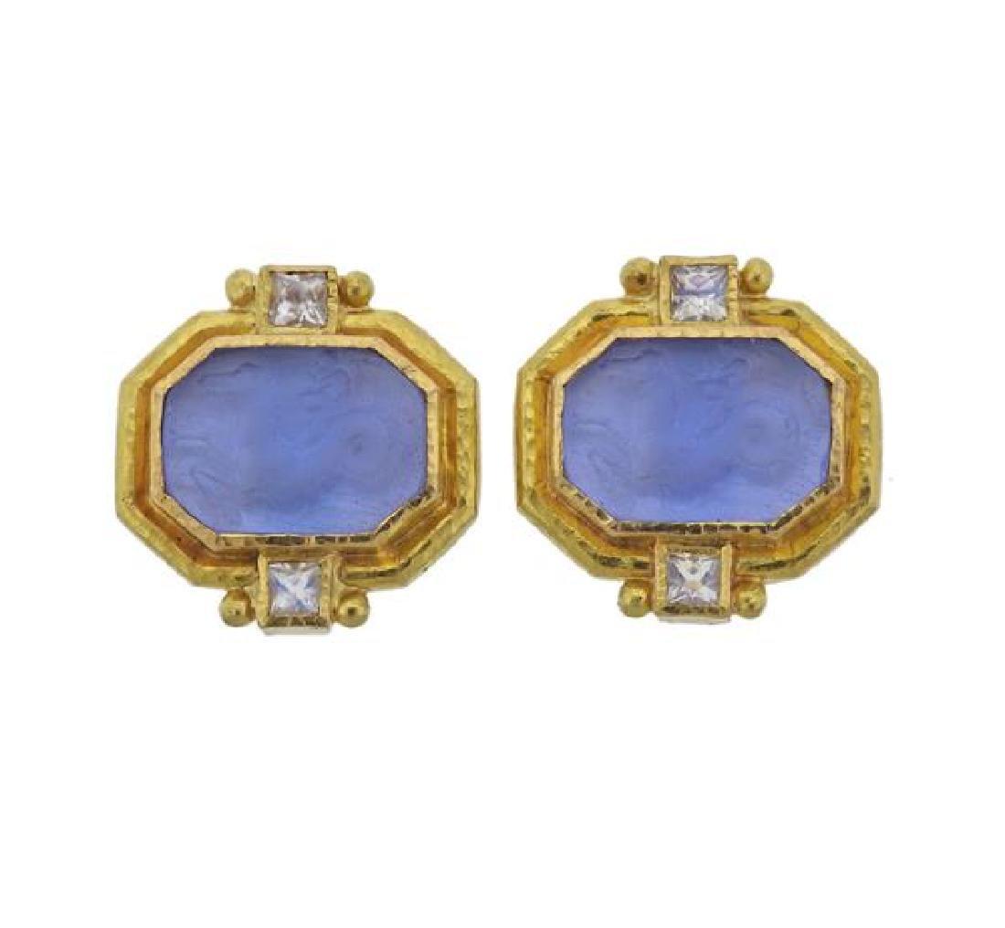 Elizabeth Locke 19K Gold Intaglio Labradorite Earrings