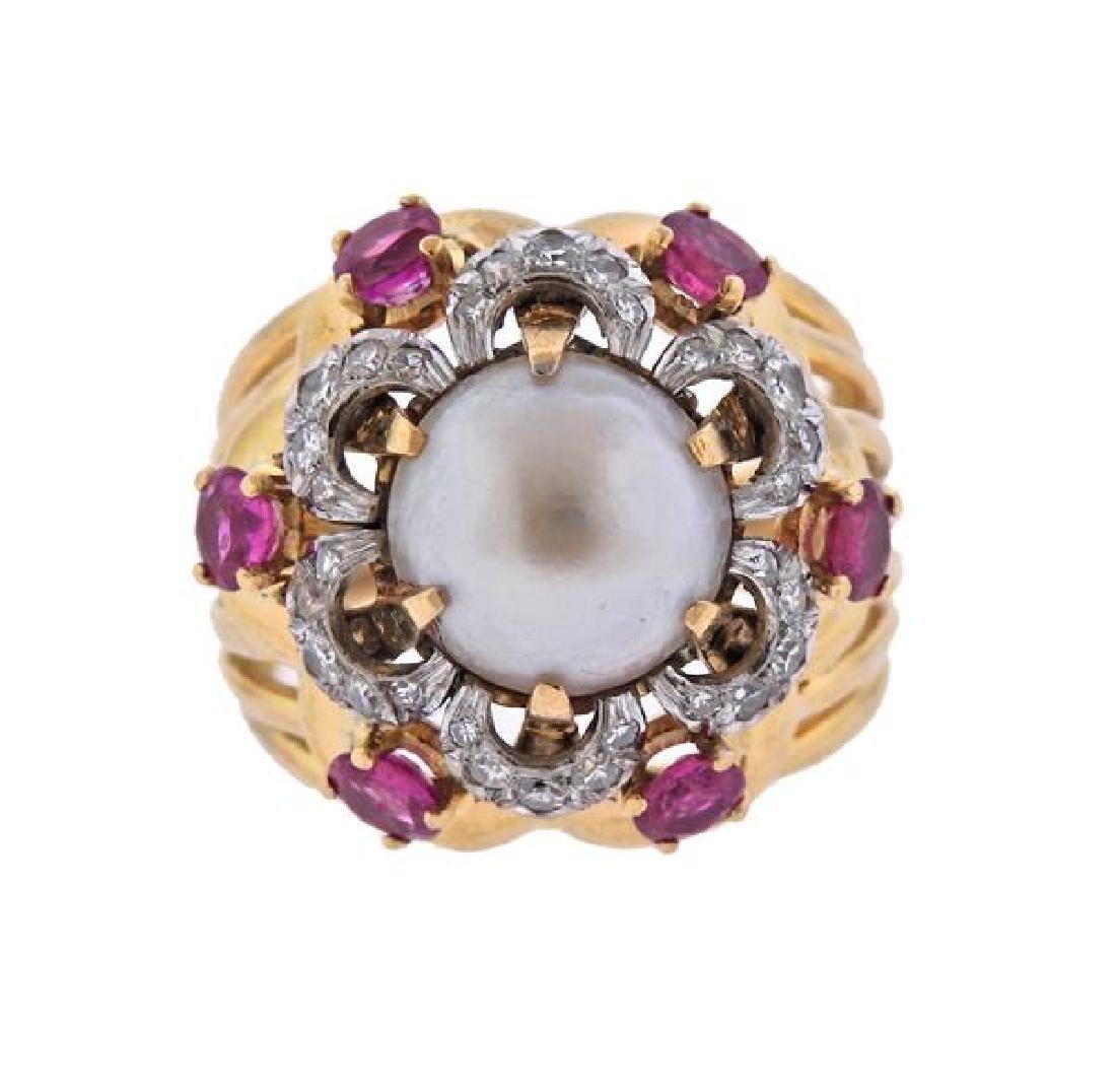 18K Gold Platinum Diamond Pearl Dome Ring