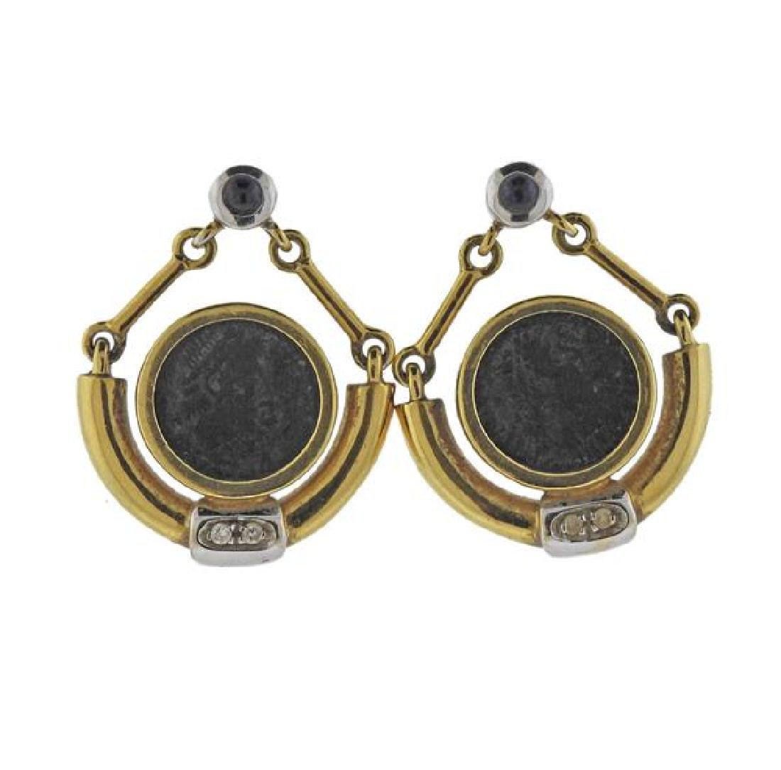 18K Gold Diamond Blue Stone Coin Earrings