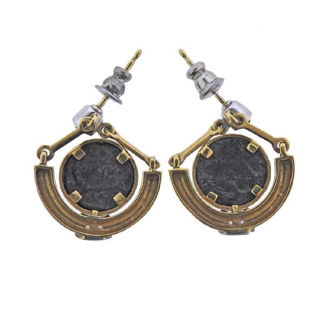 18K Gold Diamond Blue Stone Coin Earrings - 2