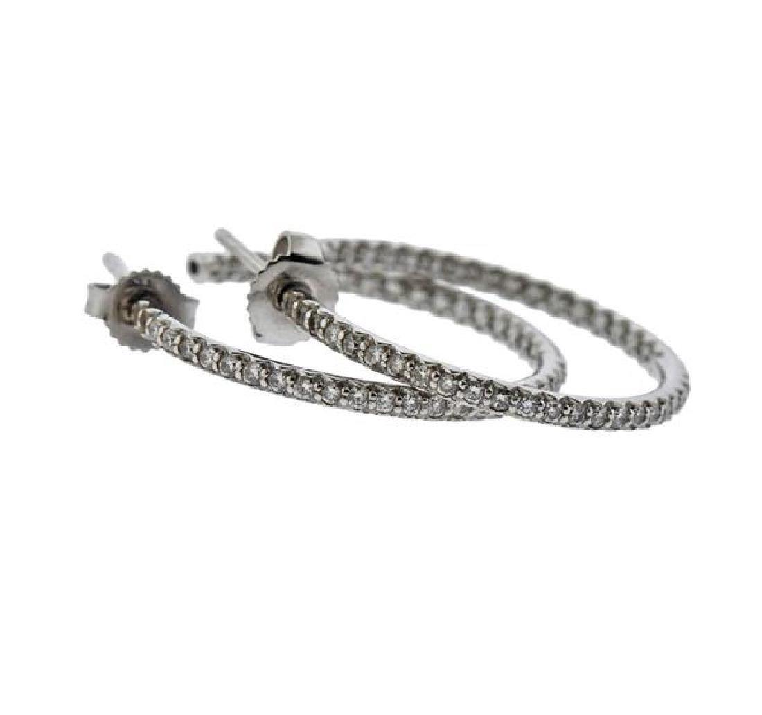 18K Gold Diamond Hoop Earrings