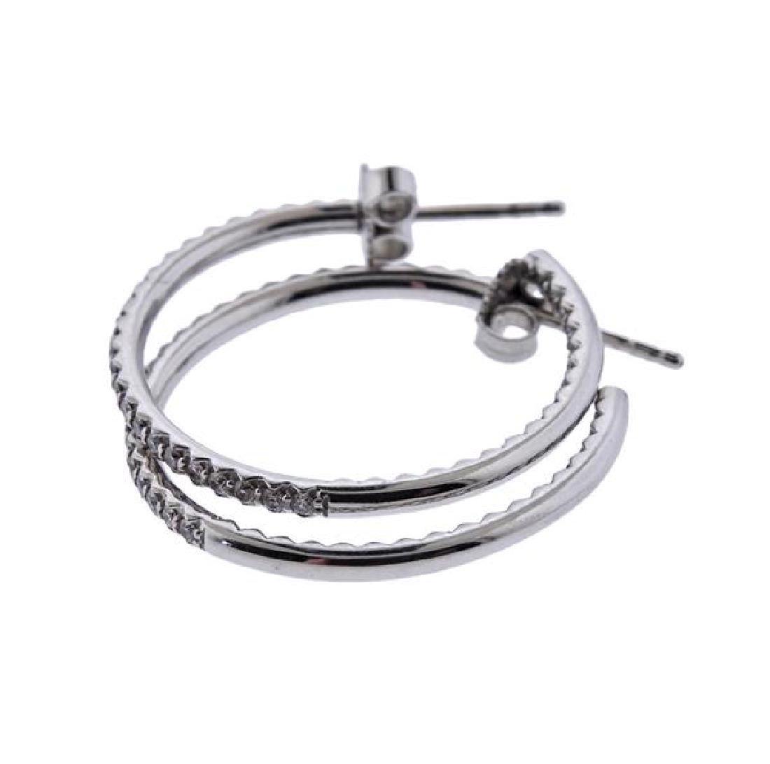 18K Gold Diamond Hoop Earrings - 3
