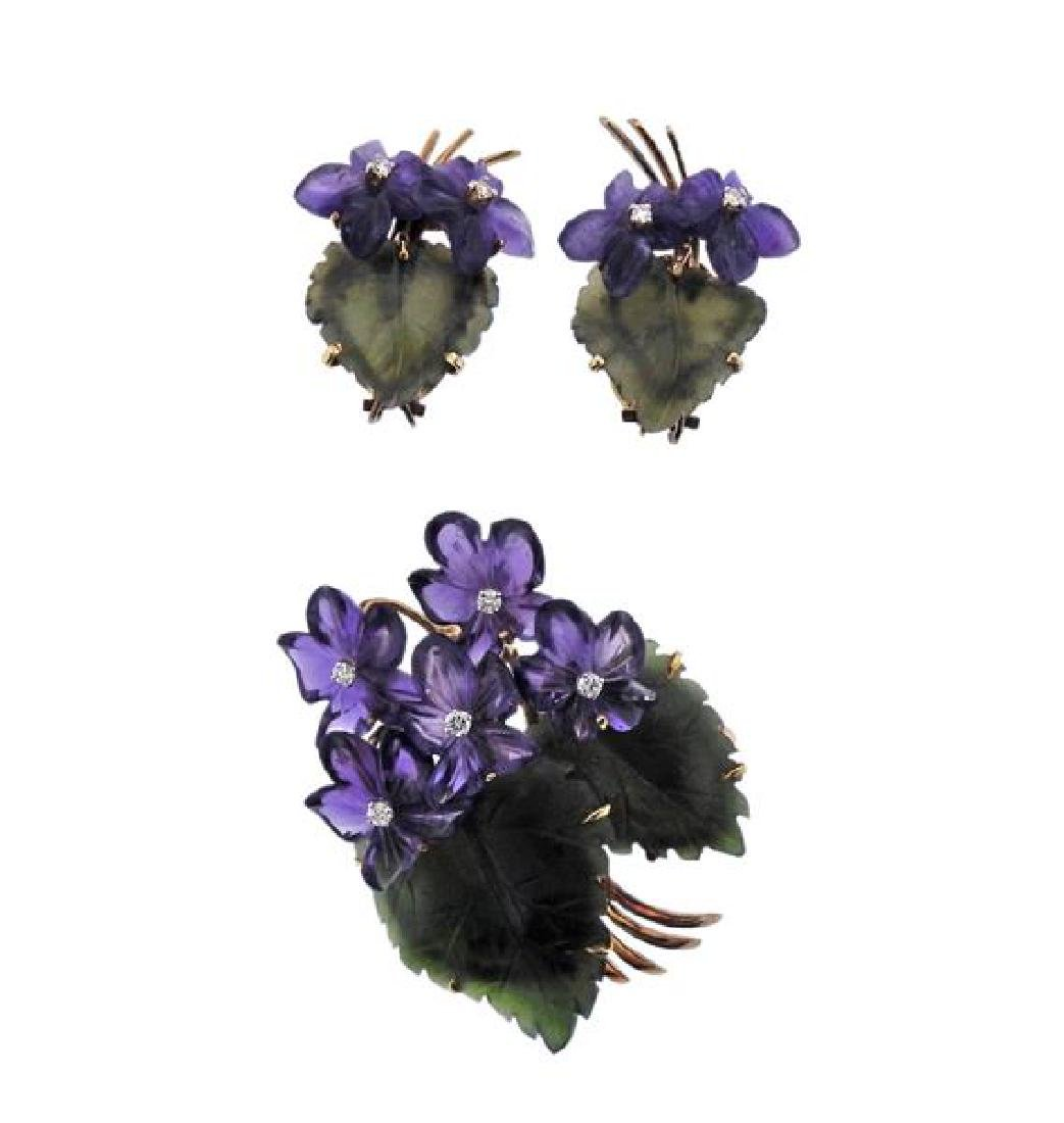 German Gold Diamond Nephrite Amethyst Brooch Earrings